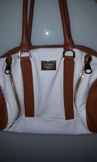 Colette white and brown handbag