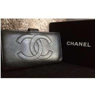 100% CHANEL Black Caviar Long Wallet