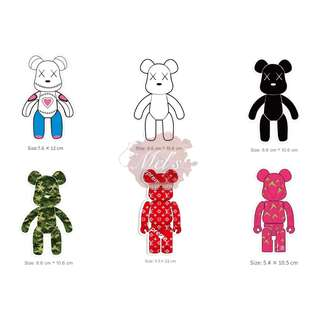 Bearbrick Luggage Sticker • Sew Doll Heart White Black Green Army Camouflage Red Supreme LV Louis Vuitton Pink Dragonfruit