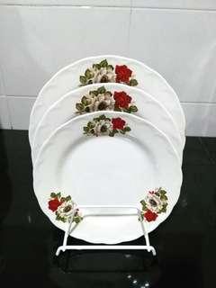 Set Pinggan Bunga Merah Putih