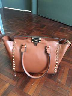 AUTHENTIC USED Valentino Rockstud Tote in Brown