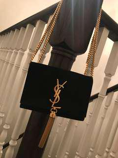 Yves Saint Laurent Suede Tassel Satchel