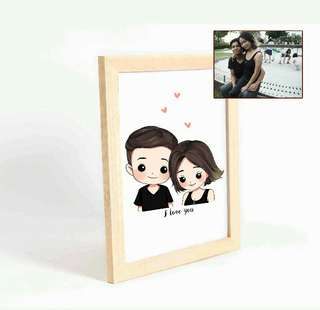 🚚 Couple Caricature Print (Framed)