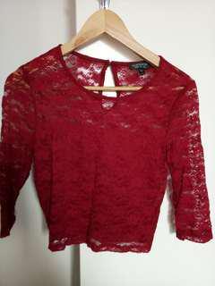 TOPSHOP burgundy lace crop