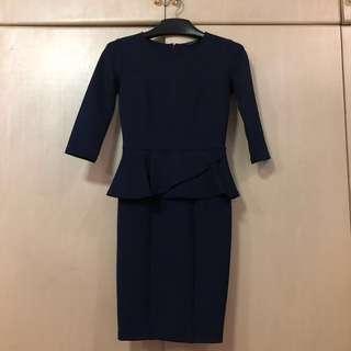 THE EXECUTIVE Peplum Dress/ Baju Pesta Peplum/ Dress Biru Navy Scuba/ Midi Dress