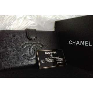 100% Classic CHANEL Black Caviar CC Long Wallet