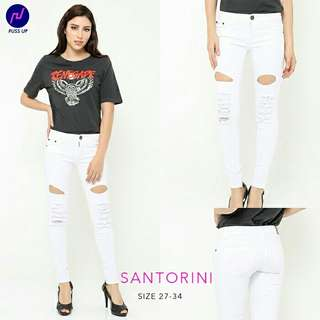 Size 27-34 Premium Jeans Puss Up Santorini Destroy ripped Jeans putih sobek