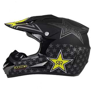 Matte Black Rockstar Full Face Motorcycle Helmet Scrambler Motorcross Motocross Scrambler Off Road Dirt Bike