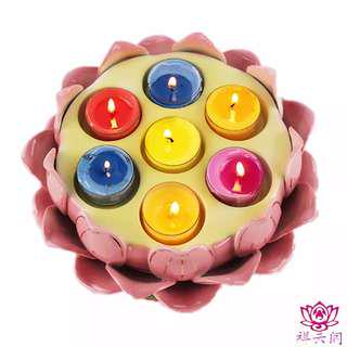 🚚 Lotus shaped candle holder/holds 7 butter lamps/lamp holder