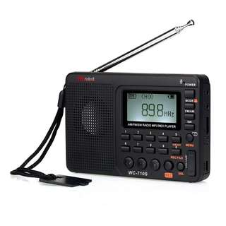 VR-robot Portable Shortwave Transistor Radio, AM/FM Stereo with MP3 Player, Recorder T-Flash Card , Sleep Timer (Black)