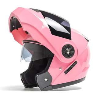 Pink Full Face Flip Up Motorcycle Bike Modular Helmet with Double Inner Lens