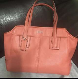 Coach Leather Orange Crossbody Bag / Hand Bag(Two-Way)