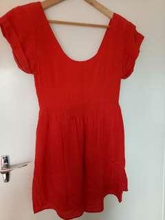 Red silk skater dress 12.