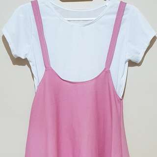 Jumper Flared Dress + White Plain Shirt (Pink)