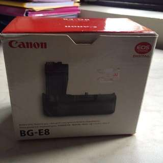 CANON BATTERY GRIP BG-E8 & BATTERY PACK LP-E8 WITH BOX