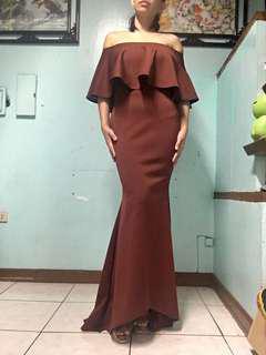 Off shoulder long dress gown brick red maroon frills mermaid