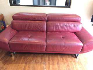 FREE Genuine leather dark red sofa