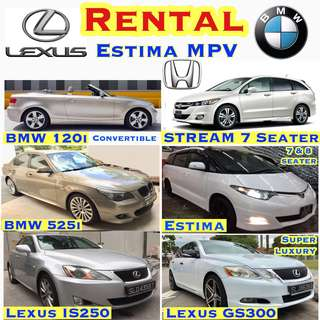 CHEAPEST Car Rental Lease , ✨Estima MPV ($69) ✨Vezel Hybrid ($69) ✨ Honda Accord ($49) ✨Stream ($49) ✨Lexus IS250 ($59) ✨Lexus Super Luxury GS300 ($75) ✨BMW 120i Convertible ($69) ✨