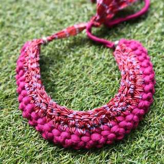 Handmade T-shirt Yarn Necklace (Maroon and Red)
