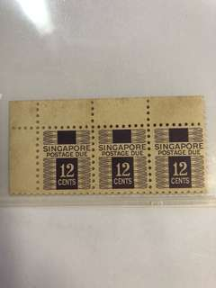 Clearing Stocks: Singapore Early Postage Due Stamps 12 Cents, Strip of 3, Mint Not Hinged