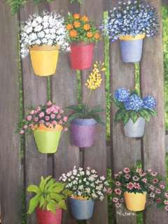 Original Artwork Painting by Victoria: Pots Of Flowers On The Fence