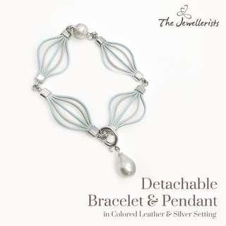 Tahitian Pearl Pendant & Colored Leather Bracelet Set