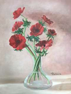 Original Artwork Painting by Victoria: Poppies In A Clear Vase