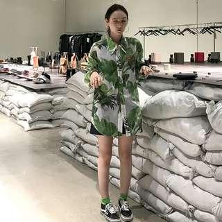 VM 原創 潮流 熱帶雨林印花植物 中性休閒防寬鬆 防曬襯衫