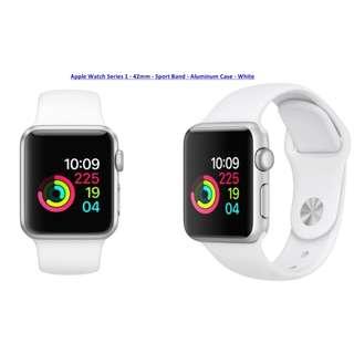 [13/7優惠: 特價 + 額外錶帶1條] (美國入口) Apple Watch Series 1 – 42厘米 –銀色鋁金屬錶殼配白色運動錶帶
