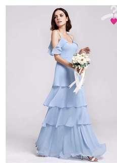 Off shoulder long V neck maxi dress