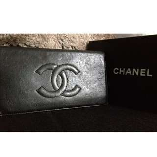 100% Classic CHANEL Black Goatskin CC Long Wallet