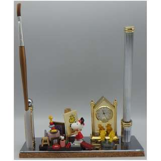 "Snoopy 史努比 ""小畫家"" w/gold plated quartz table clock+pen & brush"