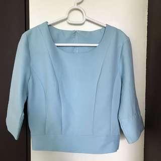 Light blue crop blouse