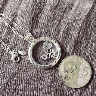 Large floating locket silver pendant and necklace