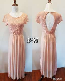 Old rose maxi bridesmaid dress