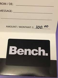 $100 Bench Gift Card