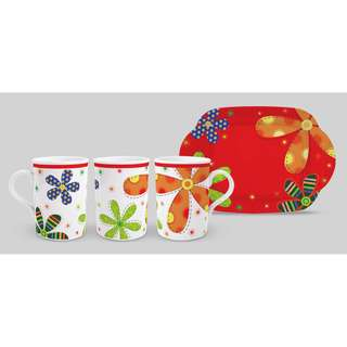 1pc mug + tray AW 419 Flower Red