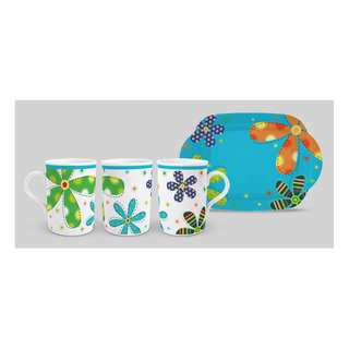 1 pc mug + tray AW 419 Flower Blue