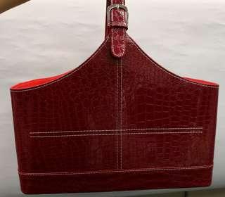 優質生果籃 紅色大size 高級皮籃,過大禮超合用!grand 求婚花藍