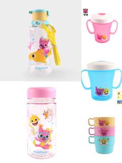 Baby shark pink fong cup, water bottle, straw bottle