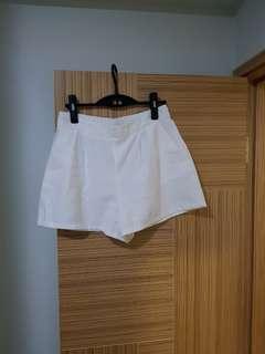 韓國新款靚料西褲白色短褲 橡筋腰