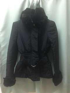 黑色輕身薄羽絨外套 連腰帶(可拆除)