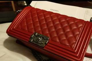 Pre-loved Chanel Leboy Medium in Red
