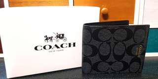 Coach男短夾 (全新正品)