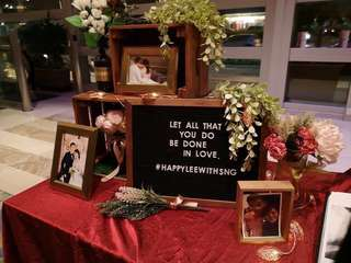 Wedding decor photo display reception