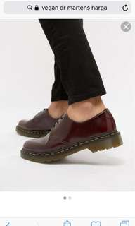 cherry red vegan leather Dr Martens