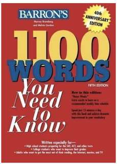 🚚 1100 Words You Need to Know (Barron's 1100 Words You Need to Know) 5th (fifth) Edition by Bromberg, Murray, Gordon, Melvin published by Barron's Educational Series (2008) Paperback