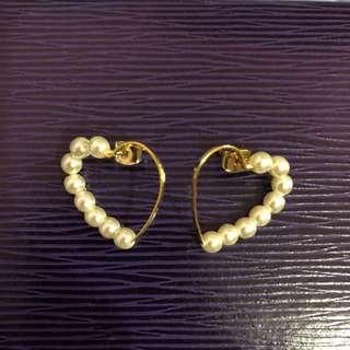 日本心型珠珠耳環