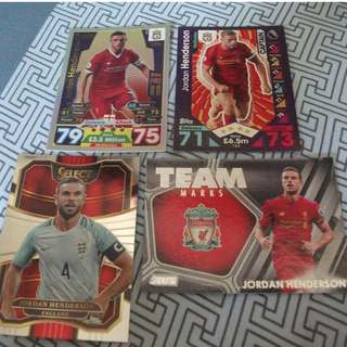 Jordan Henderson Topps/Panini trading cards for sale/trade (Lot of 4 cards)