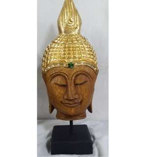 Antique repro Buddha head w stand Gold (Thailand)
